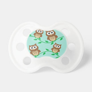 Cute Owls on Branches Baby Pacifier