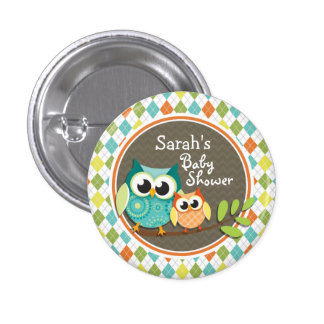 Cute Owls on Colorful Argyle; Baby Shower Buttons