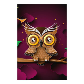 "Cute Owls on Colorful Branches green purple 5.5"" X 8.5"" Flyer"