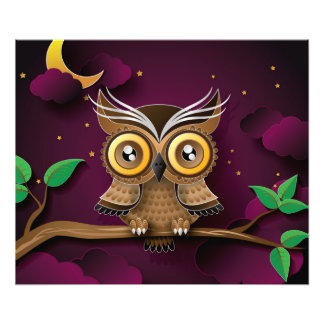 Cute Owls on Colorful Branches green purple Photo Print