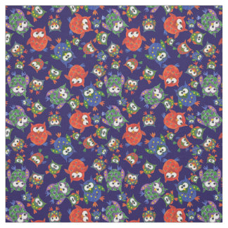 Cute Owls on Navy Blue Fabric to Customize