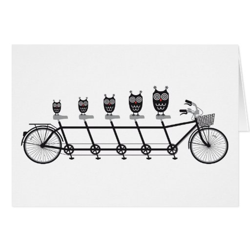 cute owls on tandem bicycle greeting cards