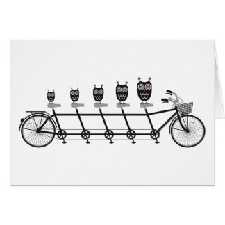 cute owls on tandem bicycle greeting card