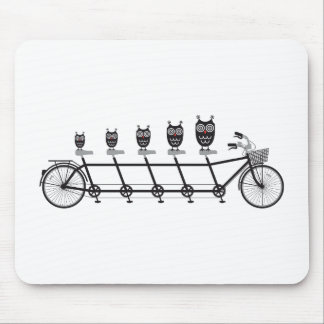 cute owls on tandem bicycle mouse mat