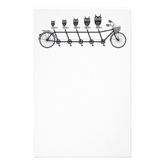 cute owls on tandem bicycle stationery