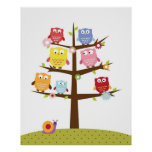 Cute owls on tree illustration poster
