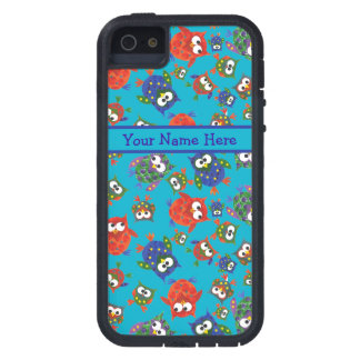 Cute Owls on Turquoise Blue Background iPhone 5 Cover