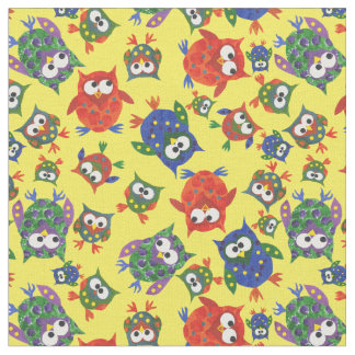 Cute Owls on Yellow Fabric to Customize
