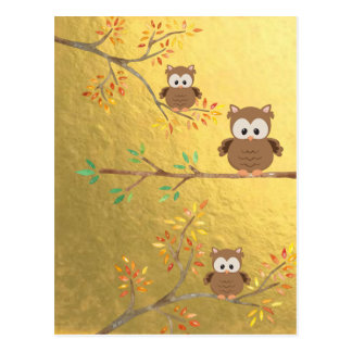 Cute Owls perched on a branch Postcard