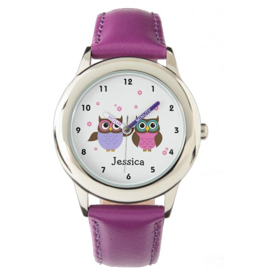 Cute Owls Personalised Girl's Watch