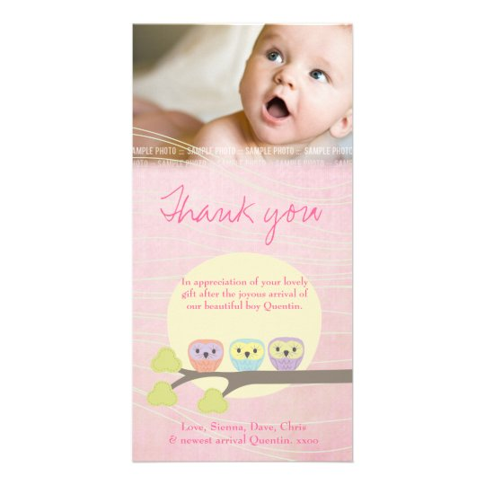 Cute Owls Pink Baby Thank You Photo Card