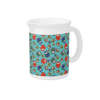 Cute Owls Pitcher or Jug Red and Blue on Turquoise