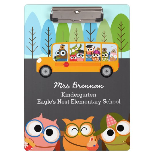 Cute Owls School Bus Personalised Teacher Clipboard