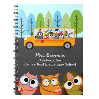 Cute Owls School Bus Personalized Teacher Notebook