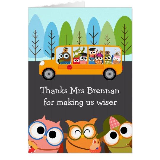 Cute Owls School Bus Teacher Appreciation Card