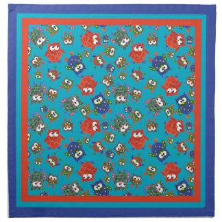 Cute Owls Set of Cloth Napkins, Red, Blue, Green