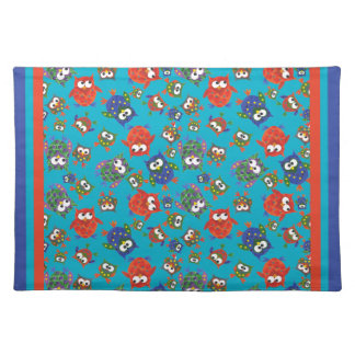 Cute Owls Table Mat, Red, Blue, Green Placemat