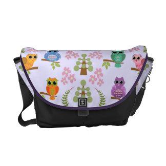 Cute owls, trees, flowers & Name Messenger bag