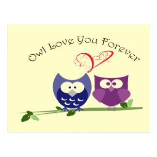 Cute Owls Valentine Greeting Card Postcard
