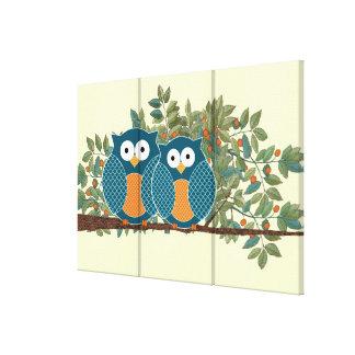 Cute Owls Vintage Love Birds Canvas Prints