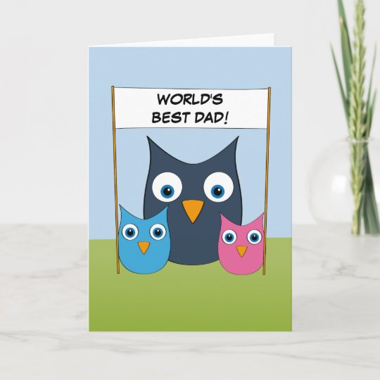 cute owls world s best dad father s day card zazzle co uk
