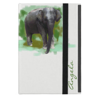 Cute Painted Baby Elephant with Custom Name Covers For iPad Mini
