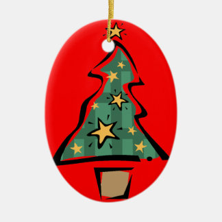 Cute Painted Christmas Tree Christmas Ornament