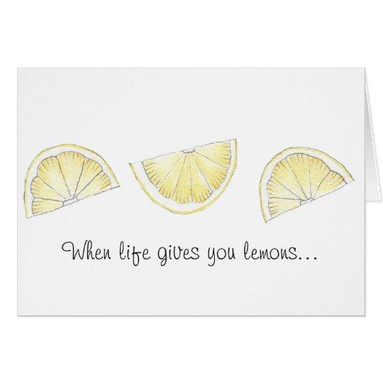 Cute painted lemon print greeting card