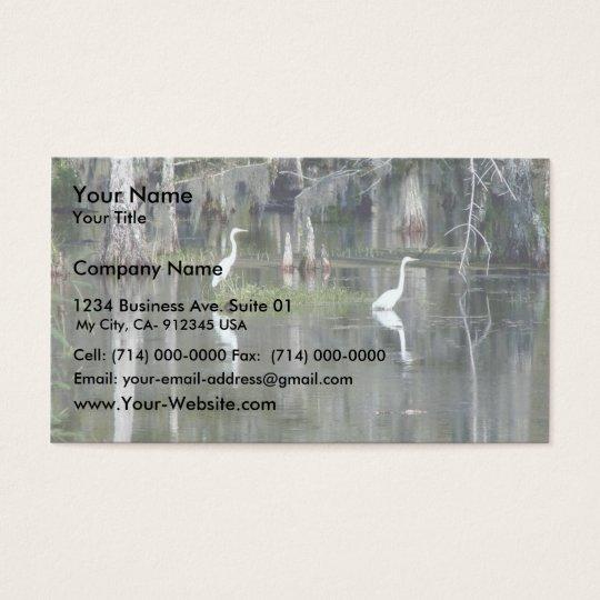 Cute Pair Of Louisiana Herons In Water Near Morgan Business Card