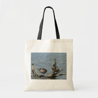 Cute Pair On Ducks Sitting On The Floating Branch Tote Bags