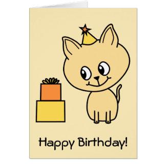 Cute Pale Amber Kitten in a Birthday Hat. Card