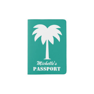 Cute palm tree passport holder with custom name