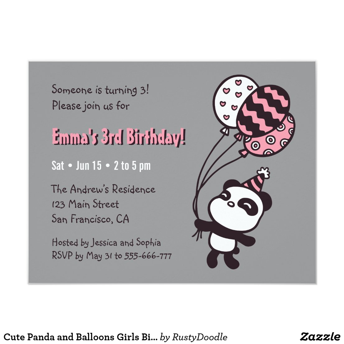 Cute Panda and Balloons Girls Birthday Party Card