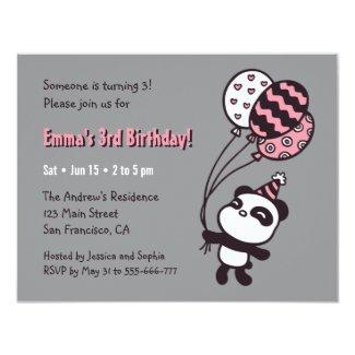 Cute Panda and Balloons Girls Birthday Party Card