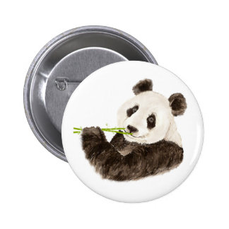 Cute Panda, Asian Bear, Watercolor Animal 6 Cm Round Badge