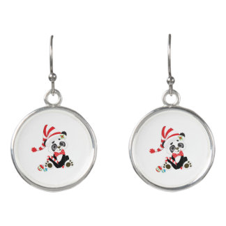 Cute Panda at Christmas Earrings