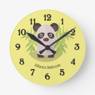 Cute Panda Bear Amid Bamboo Round Clock