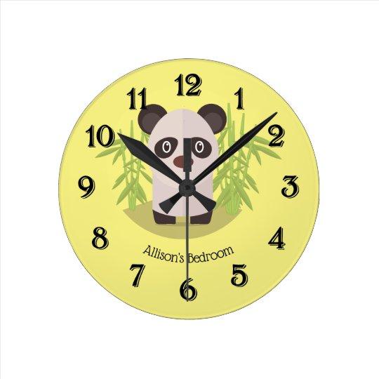 Cute Panda Bear Amid Bamboo Round Clock