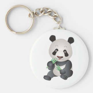 Cute Panda Bear Basic Round Button Key Ring