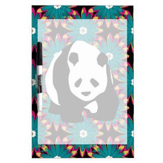 Cute Panda Bear Blue Pink Flowers Floral Pattern Dry Erase Board