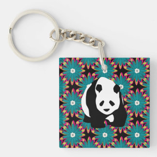 Cute Panda Bear Blue Pink Flowers Floral Pattern Double-Sided Square Acrylic Key Ring