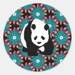 Cute Panda Bear Blue Pink Flowers Floral Pattern Round Sticker