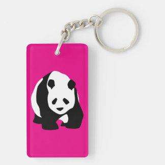 Cute Panda Bear Hot Pink Fuchsia Zoo Wildlife Gift Double-Sided Rectangular Acrylic Key Ring