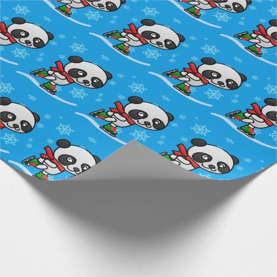 Cute Panda Bear Ice Skating Snow Christmas Kid's