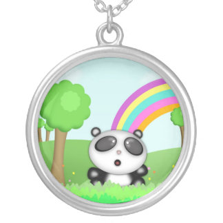Cute Panda Bear in a colorful scene with rainbow Silver Plated Necklace
