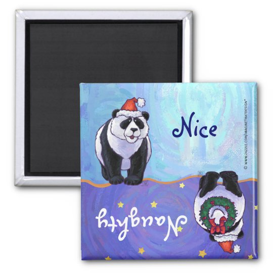 Cute Panda Bear in Santa Hat Naughty / Nice Magnet