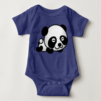 Cute Panda Bear Lying Down Smiling Baby Bodysuit