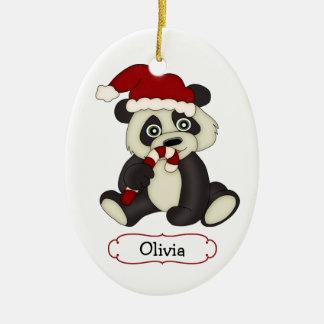 Cute Panda Bear Personalized Christmas Ceramic Oval Decoration