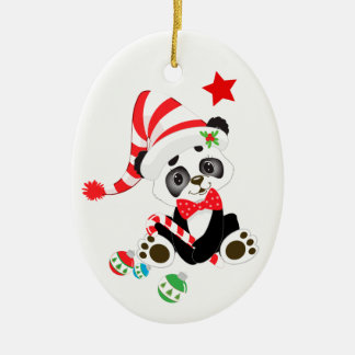 Cute Panda Bear Personalized Christmas Ornament