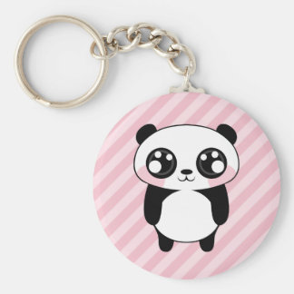 Cute Panda Bear Pink Stripes Background Basic Round Button Key Ring